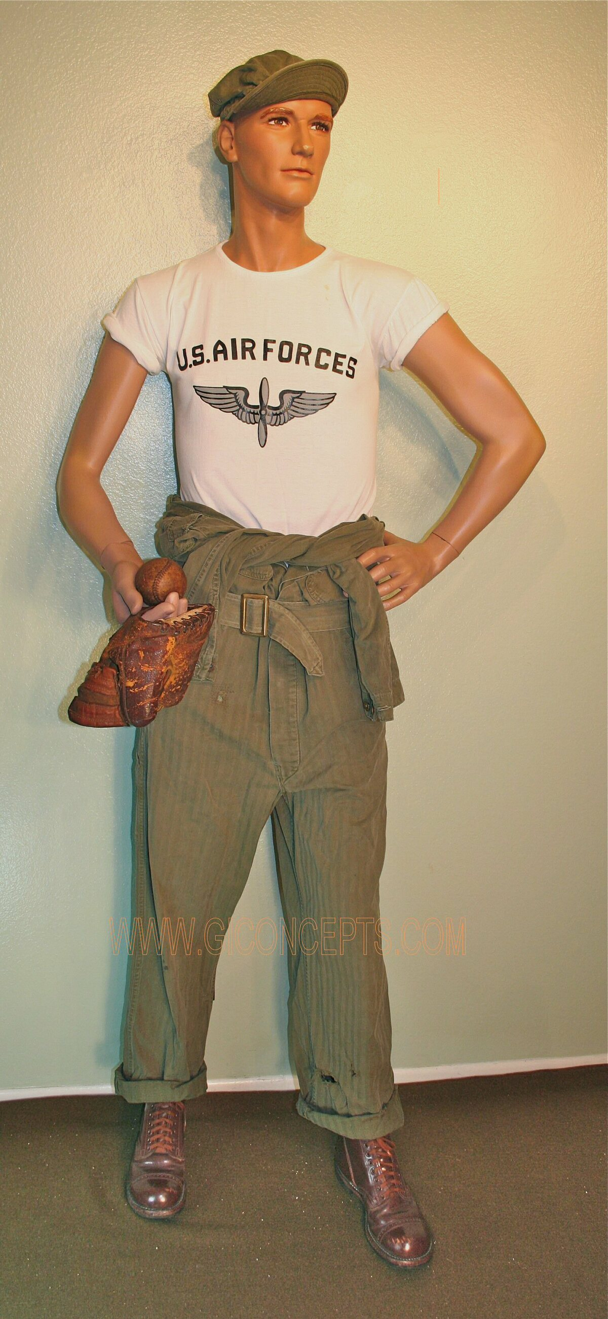 WWII Army Air Force Mechanic with baseball