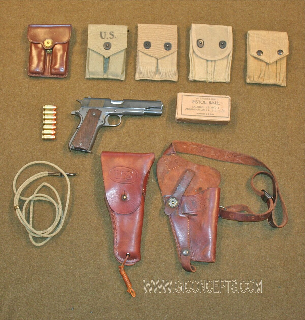 US M1911 .45 Automatic Pistol and Accessories