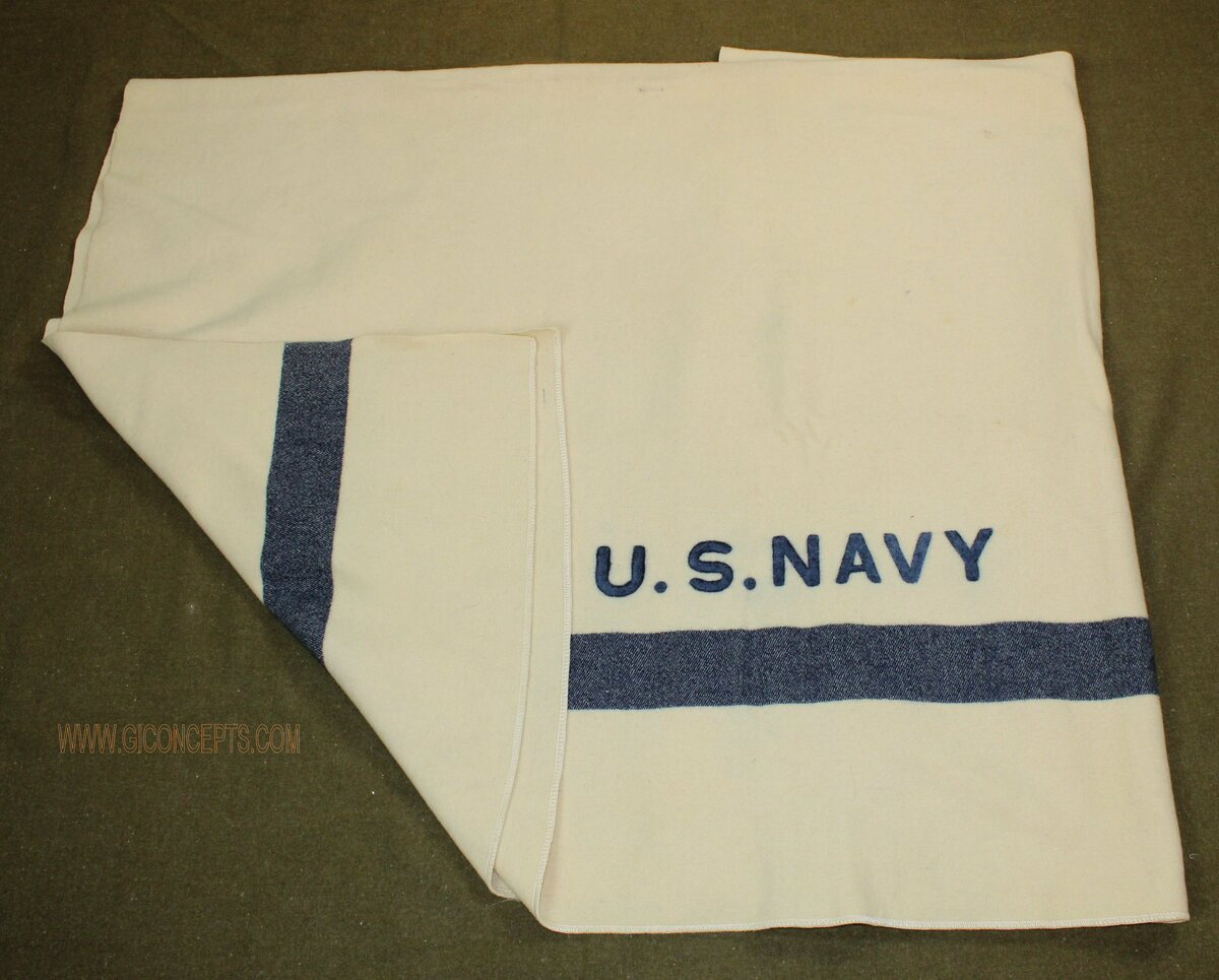 US Navy White with Blue Stripe Blanket